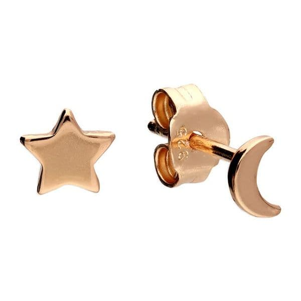 Delicate moon and star earrings - silver or rose gold